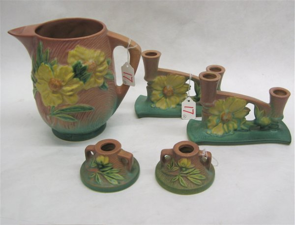 17: FIVE ROSEVILLE AMERICAN ART POTTERY PIECES, all  in