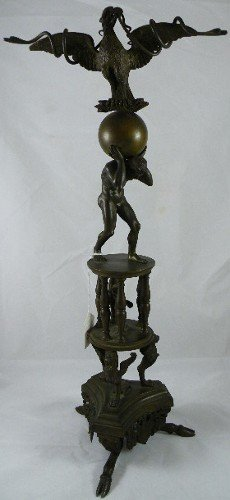 19: METAL FIGURE OF ATLAS SUPPORTING THE WORLD, with ea
