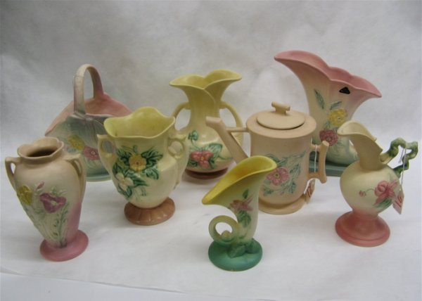 21: EIGHT AMERICAN HULL ART POTTERY PIECES, 6 vases, of