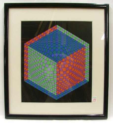 23: VICTOR VASARELY SERIGRAPH in twelve colors with  a