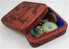 191: RED CINNABAR JEWELRY BOX AND FOUR ARTICLES OF ORI