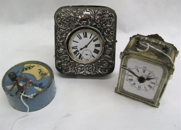 302: THREE COLLECTIBLE ITEMS: a stage coach time  piece