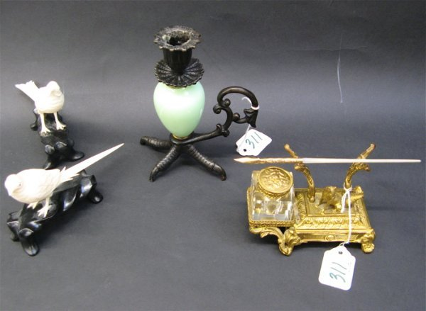 311: PAIR IVORY FIGURES, AN INKWELL & CANDLEHOLDER, 4 p