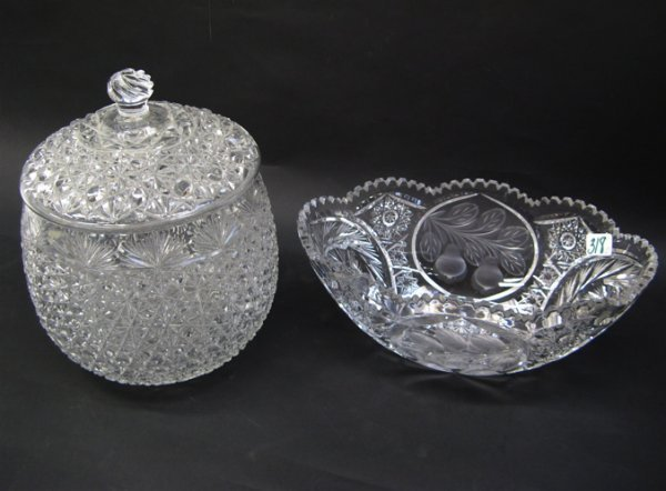 318: TWO CLEAR CUT GLASS ITEMS: oval centerpiece bowl,