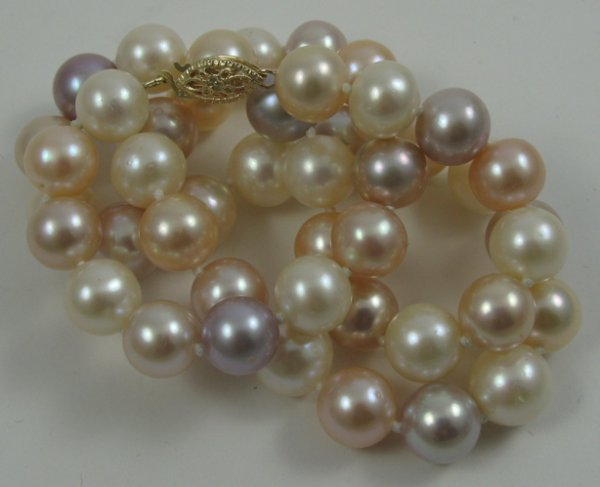 322: MULTI-COLOR PEARL CHOKER LENGTH NECKLACE. Mixed  p