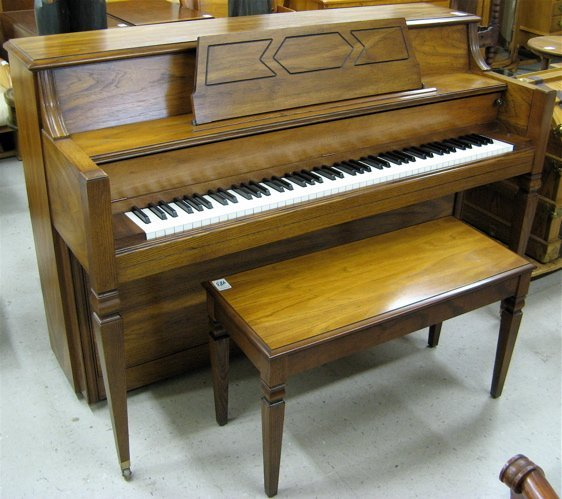 483: CONSOLE PIANO WITH BENCH, Everett Piano Co.,  Sout