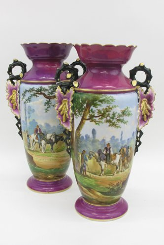 606: PAIR PORCELAIN VASES with black branches and  colo