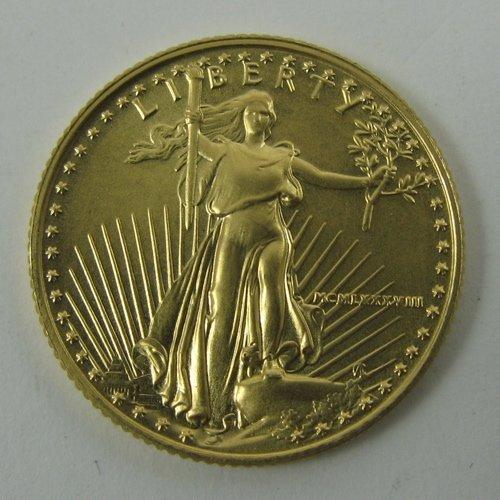 607: 1988 AMERICAN EAGLE GOLD BULLION COIN, 1/4 oz.  si