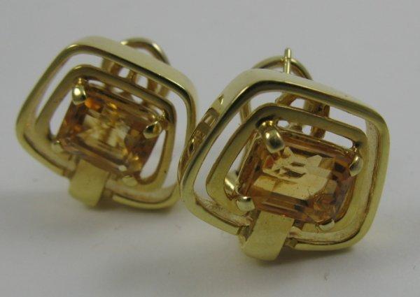 621: PAIR OF CITRINE AND FOURTEEN KARAT GOLD  EARRINGS,
