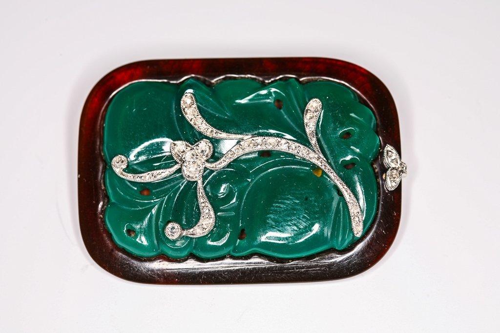 French Art Deco 18k Diamond Platinum Chrysoprase Brooch