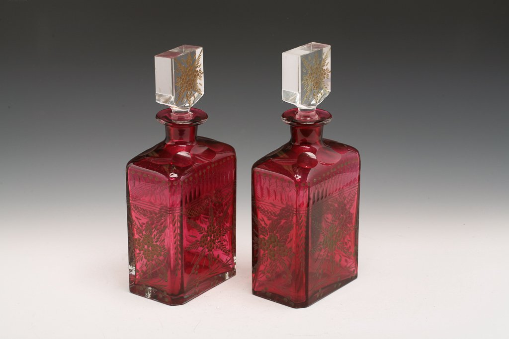 Pair Bohemian Cranberry Decanters - 3