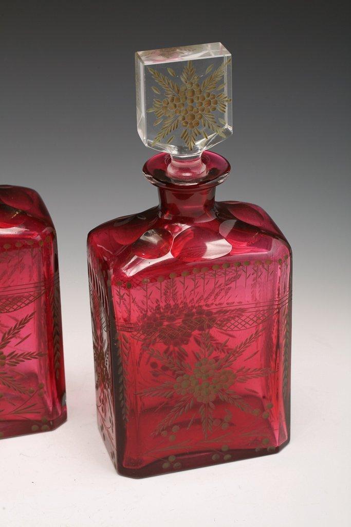 Pair Bohemian Cranberry Decanters - 4