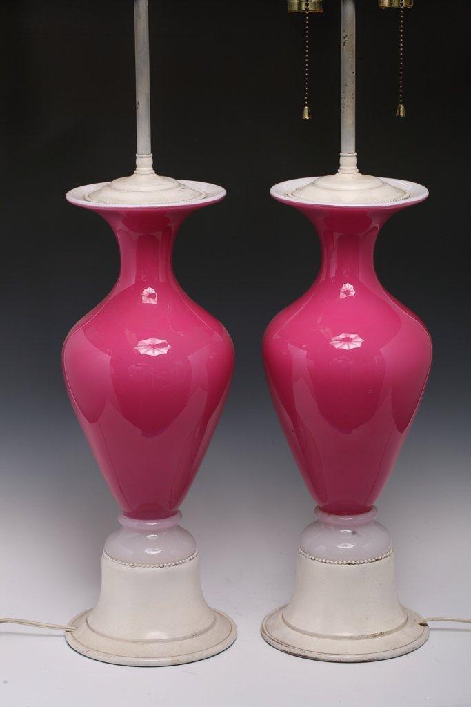 Pair Murano Pink & White Glass Lamps