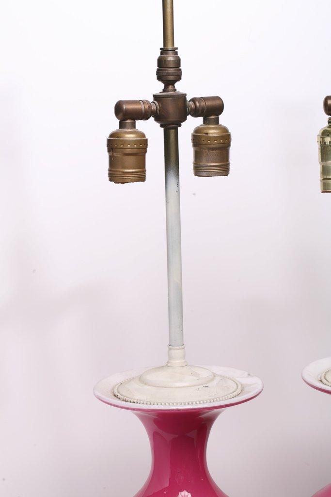 Pair Murano Pink & White Glass Lamps - 4