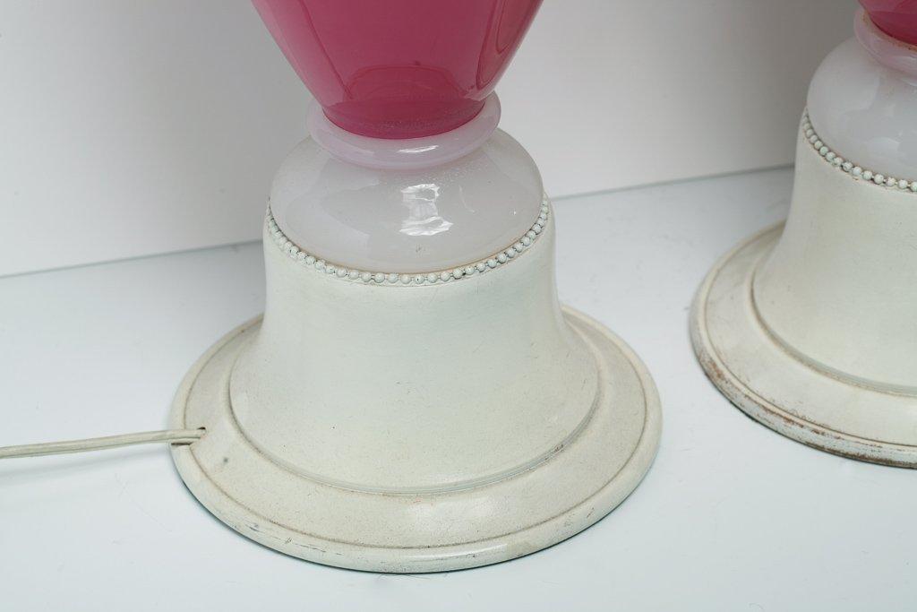 Pair Murano Pink & White Glass Lamps - 6