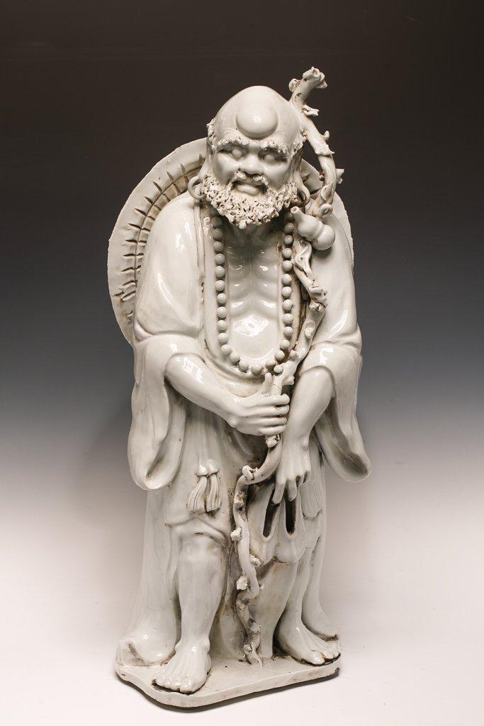 Large Blanc de Chine Dehua Luohan Sculpture