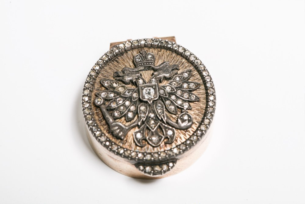 Imperial Russian Pill Box with Diamond Eagle Crest