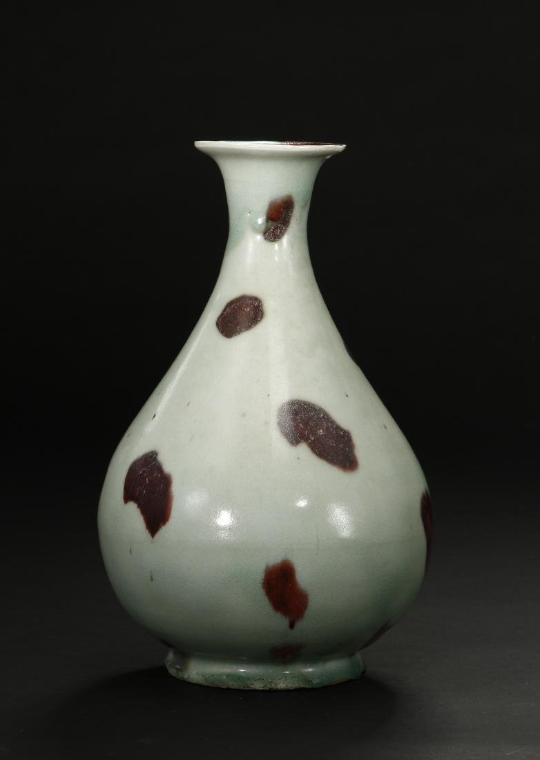 Russet-Splashed Celadon Glazed Yuhuchunping Vase