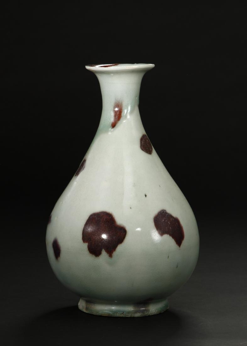 Russet-Splashed Celadon Glazed Yuhuchunping Vase - 3