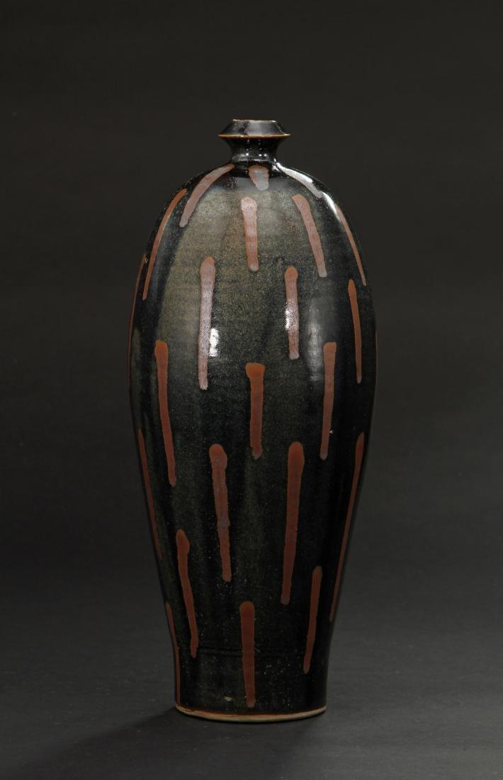 Rare Cizhou Russet Splashed Black Meiping Vase - 3