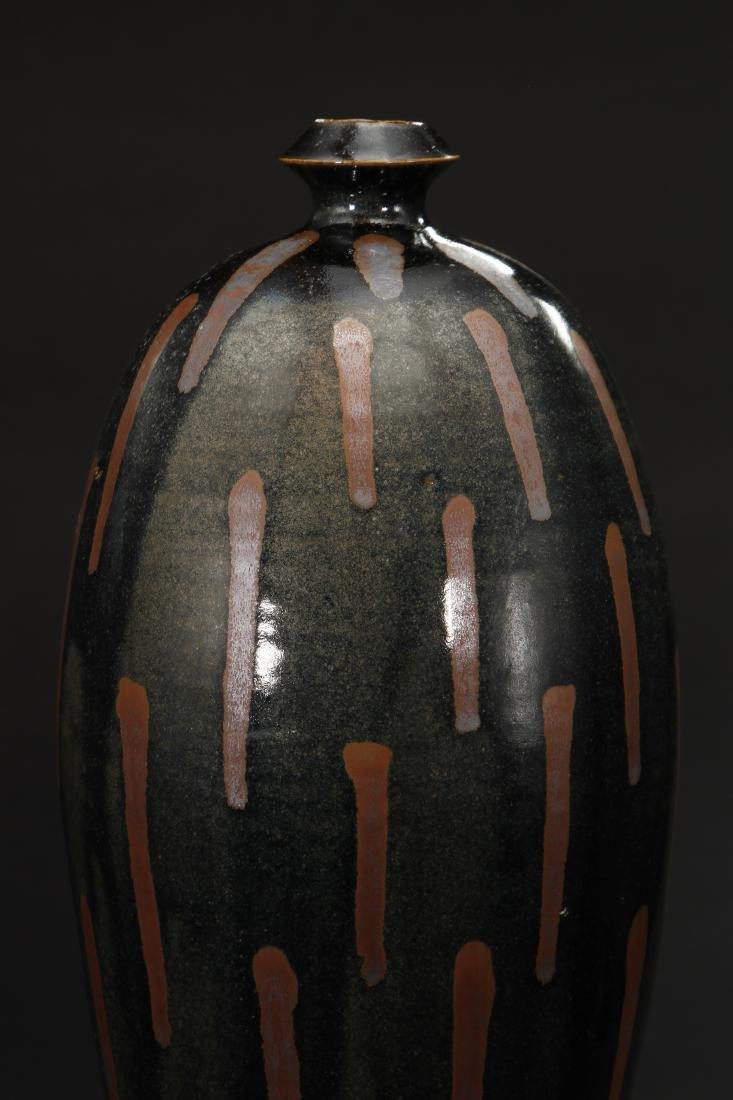 Rare Cizhou Russet Splashed Black Meiping Vase - 4