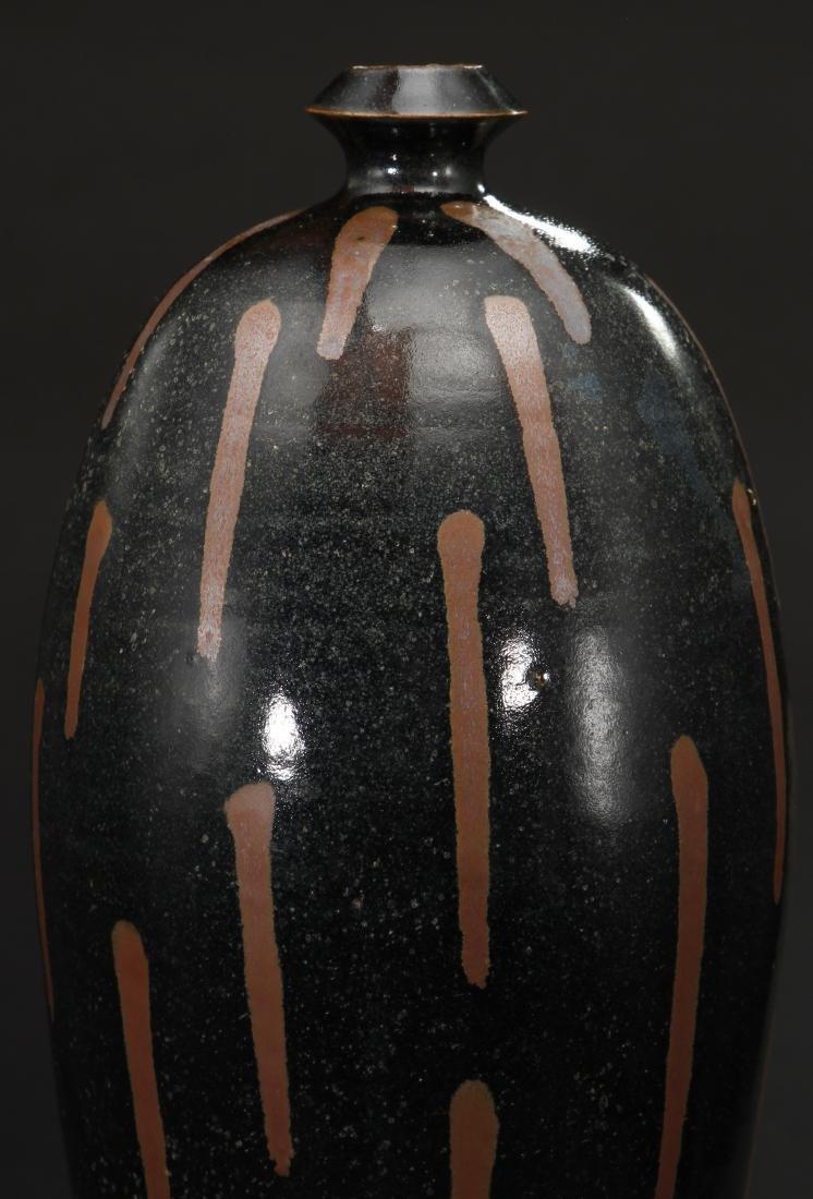 Rare Cizhou Russet Splashed Black Meiping Vase - 5