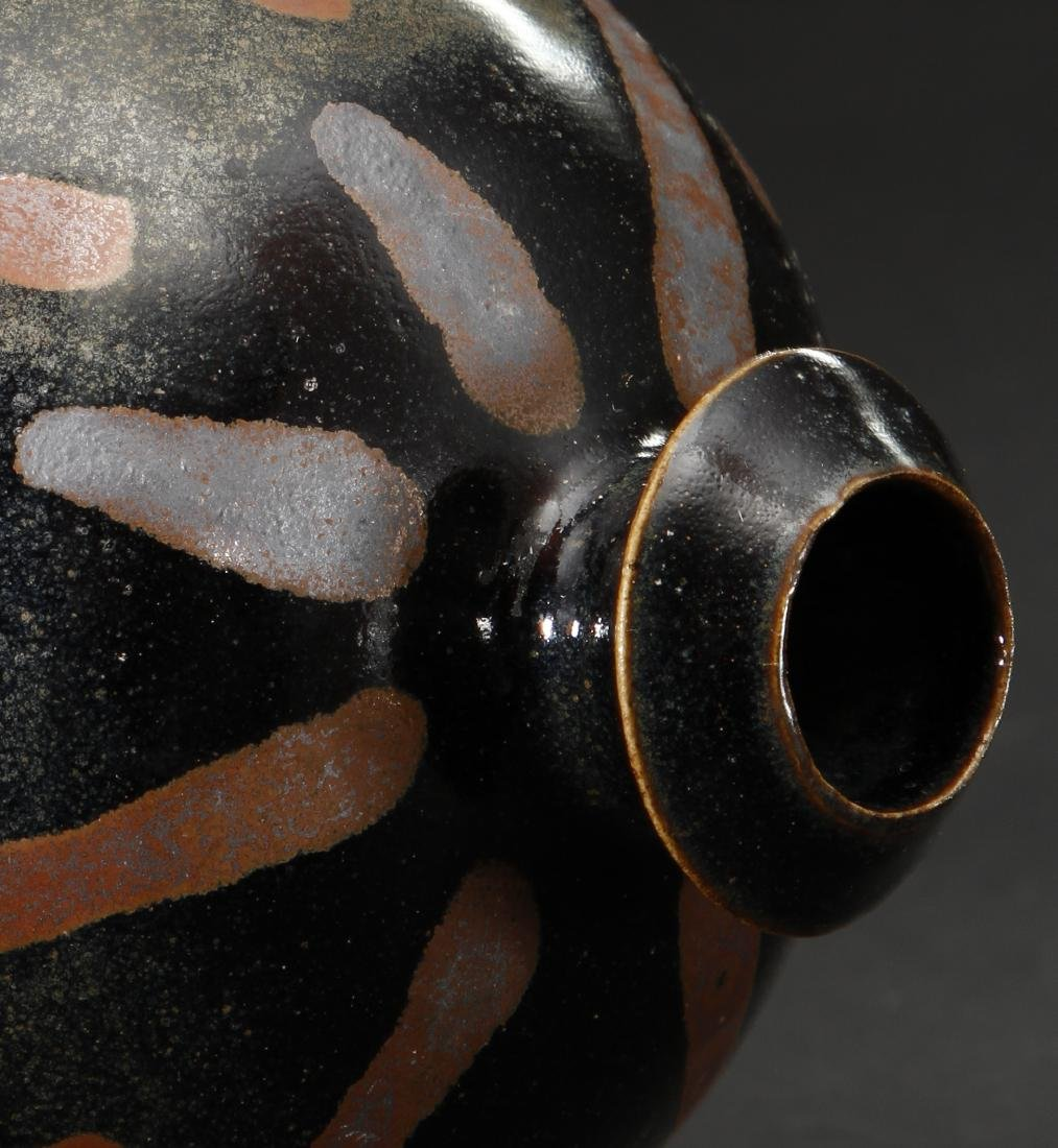Rare Cizhou Russet Splashed Black Meiping Vase - 7