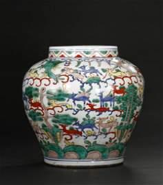 Rare Large Polychrome 'Hundred Deer' Guan Jar