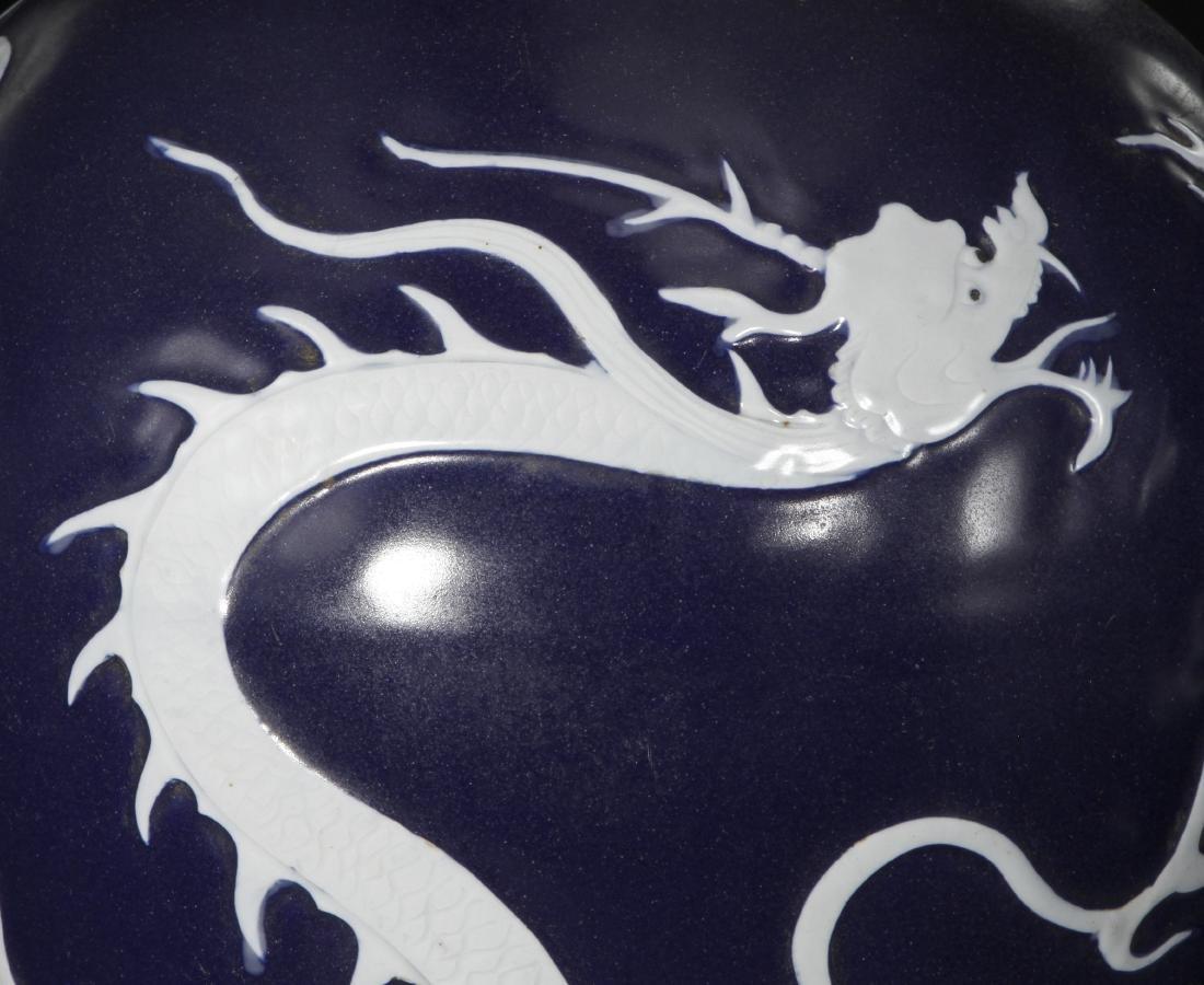 Pair Blue Enameled White Reserved Dragon Vases - 3