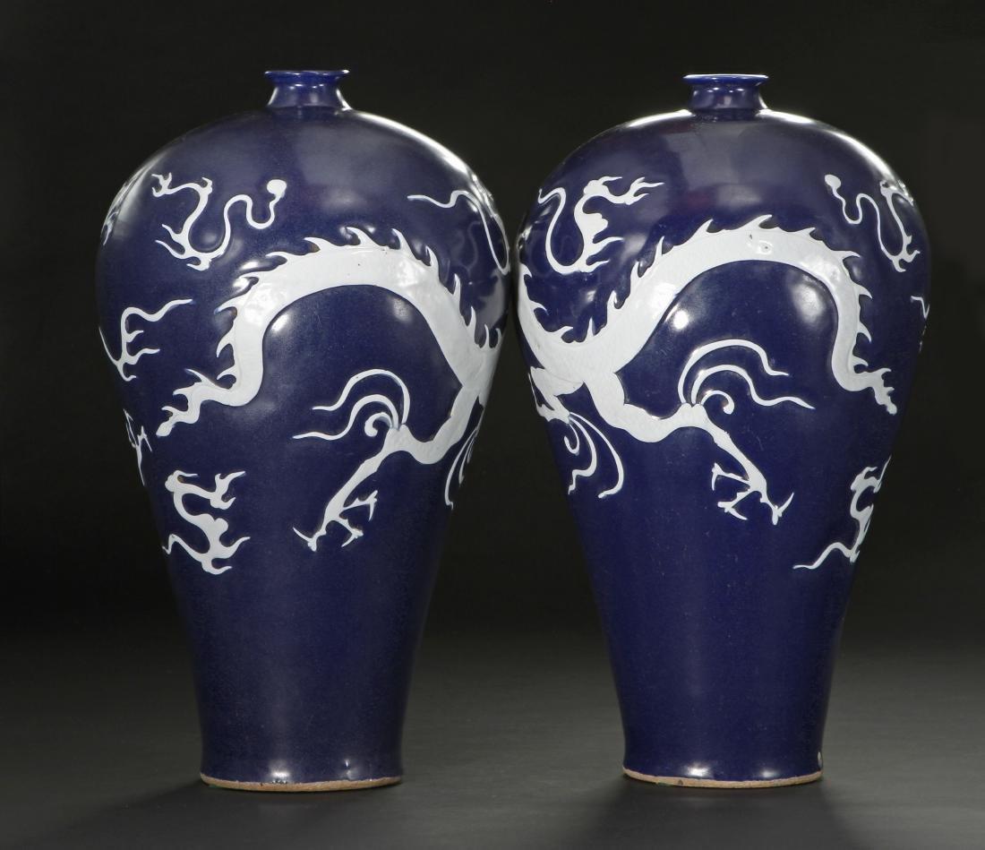 Pair Blue Enameled White Reserved Dragon Vases - 4