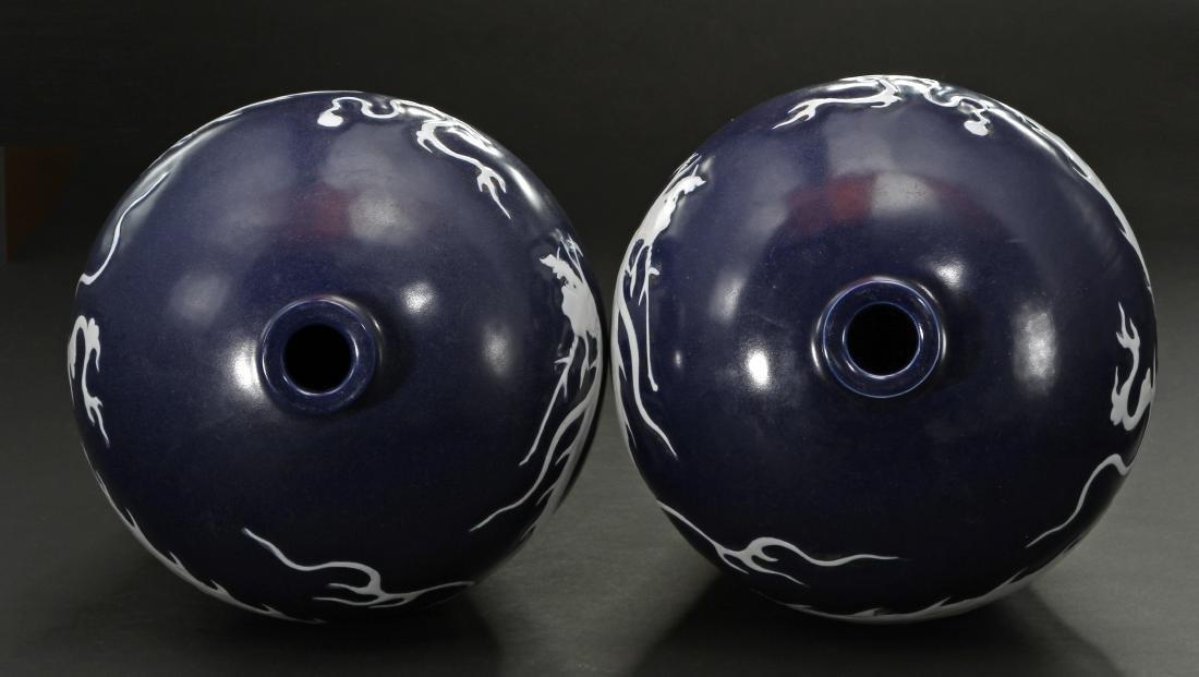 Pair Blue Enameled White Reserved Dragon Vases - 5