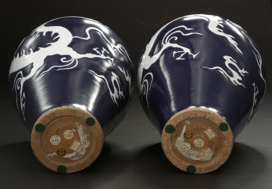 Pair Blue Enameled White Reserved Dragon Vases - 6