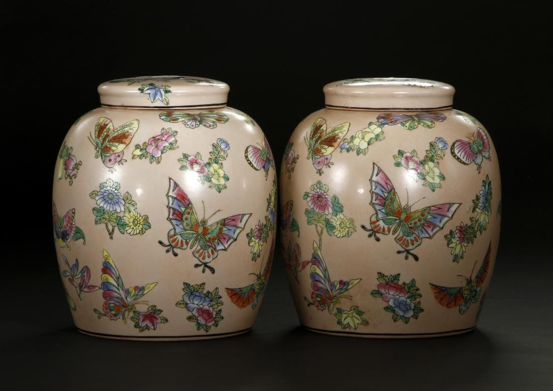 Pair of Peach Ground Famille Rose Ginger Jars - 3