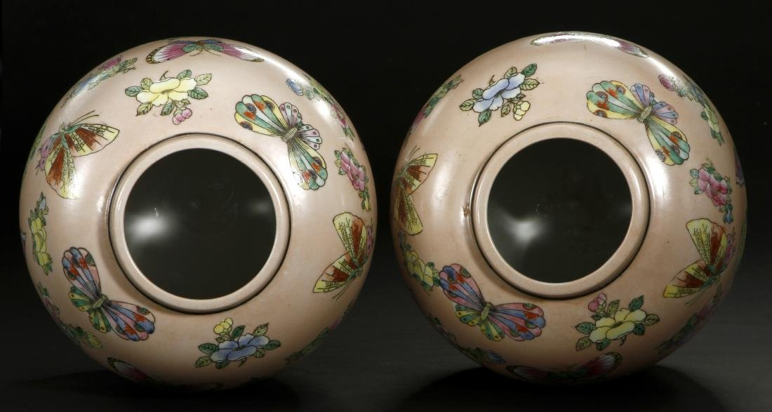 Pair of Peach Ground Famille Rose Ginger Jars - 5