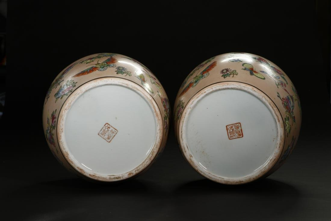 Pair of Peach Ground Famille Rose Ginger Jars - 8