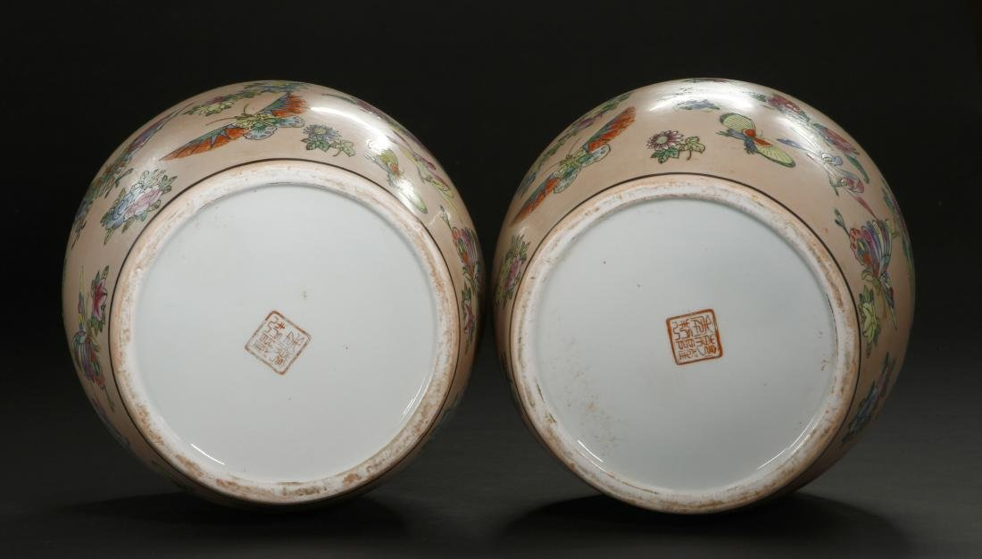 Pair of Peach Ground Famille Rose Ginger Jars - 9