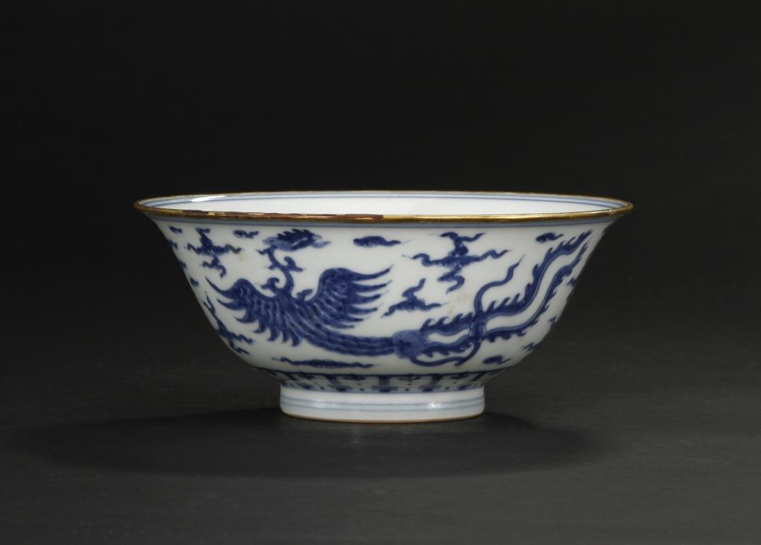 Fine Blue/White 'Dragon-Phoenix' Bowl - 8
