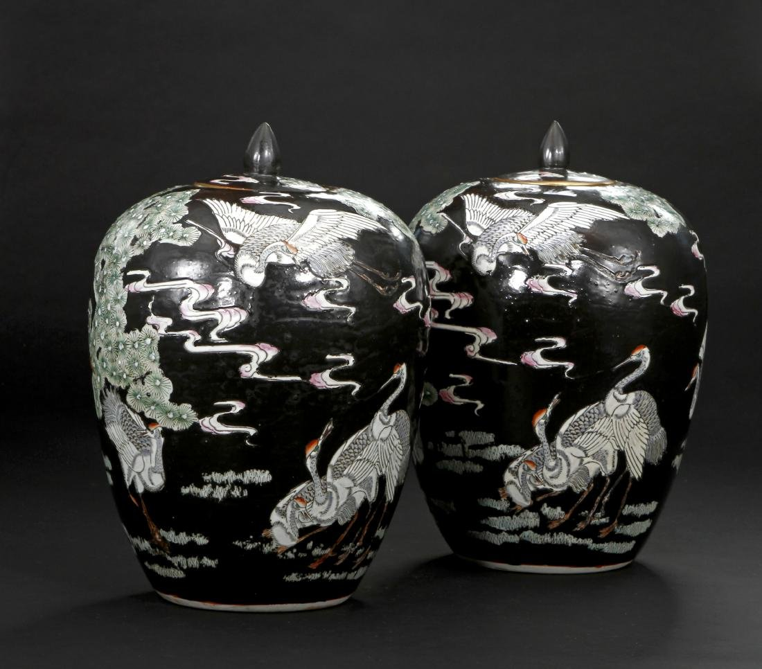 Pair of Famille Noir Ginger Jars and Covers