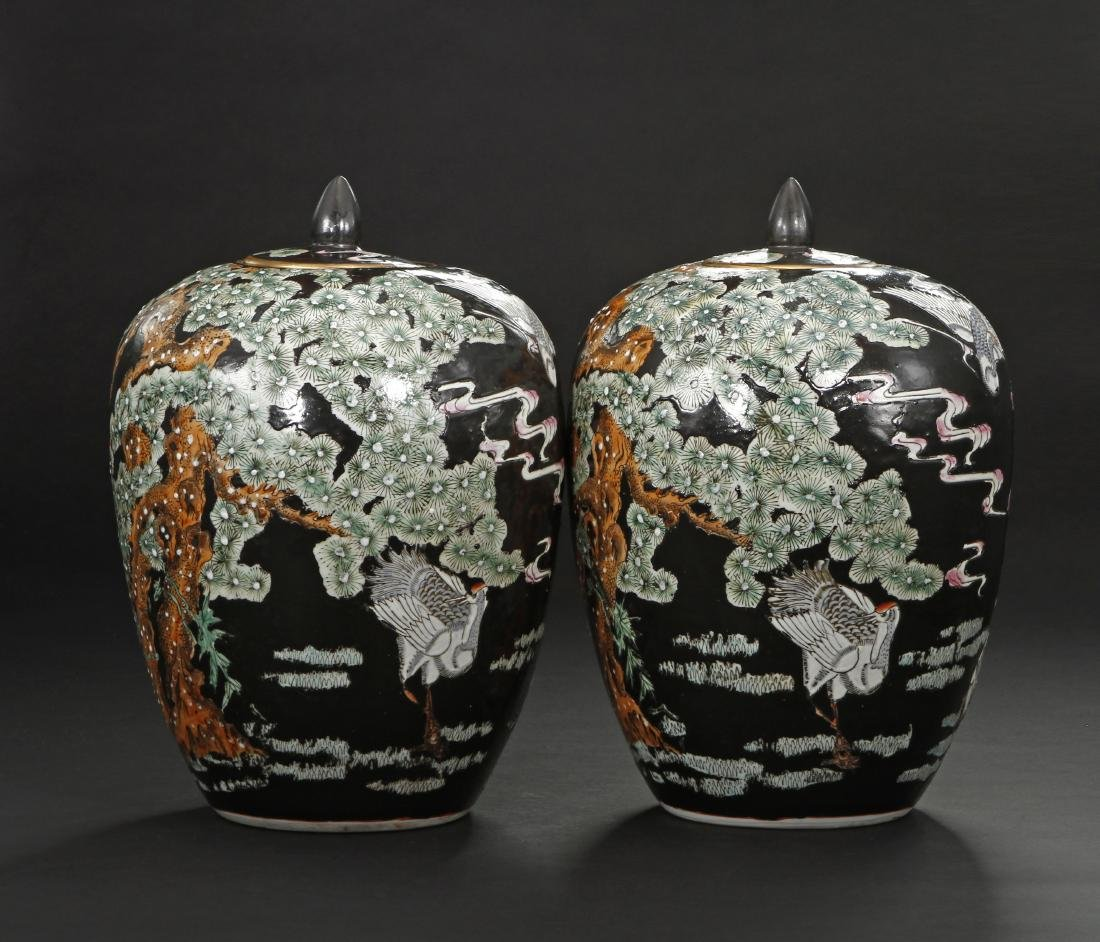 Pair of Famille Noir Ginger Jars and Covers - 2