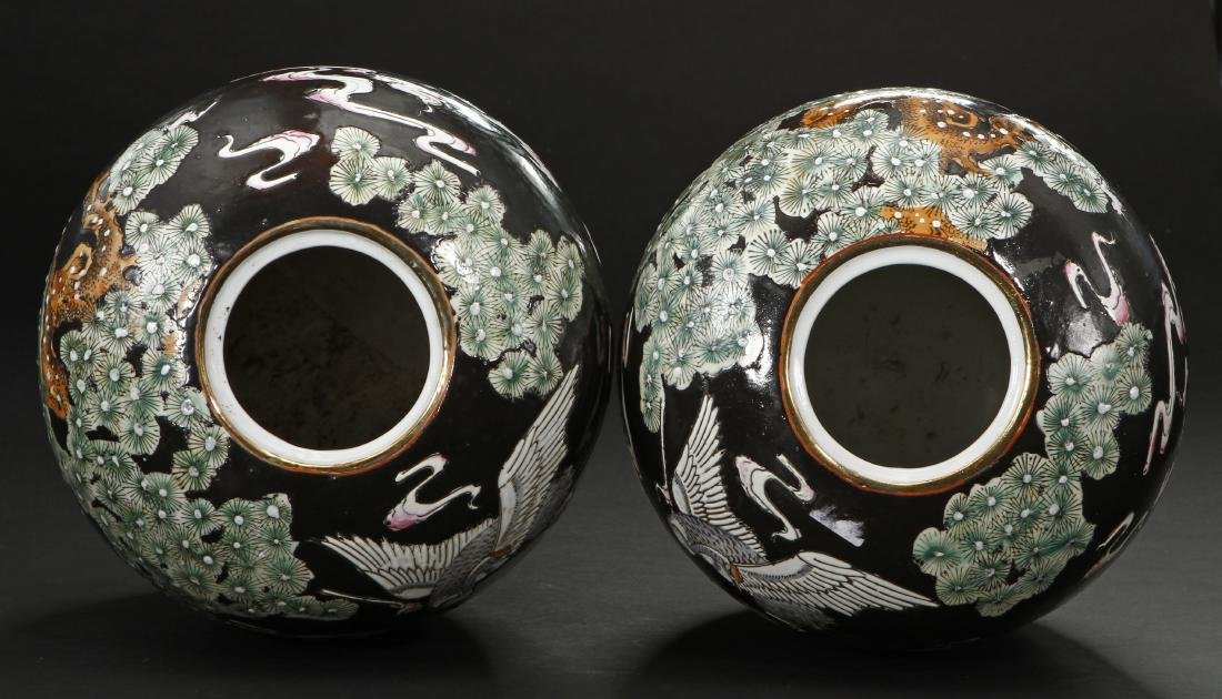 Pair of Famille Noir Ginger Jars and Covers - 4