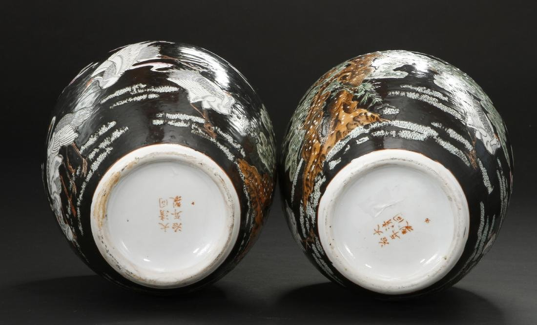 Pair of Famille Noir Ginger Jars and Covers - 5