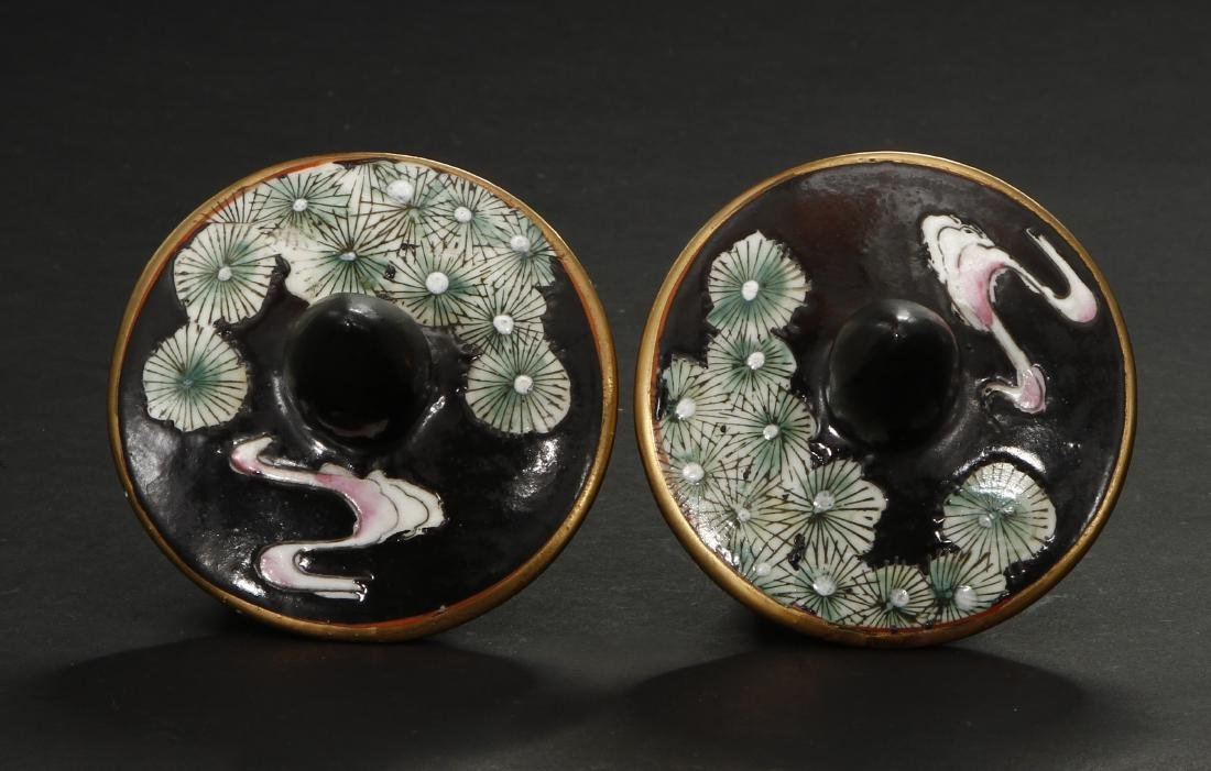 Pair of Famille Noir Ginger Jars and Covers - 7