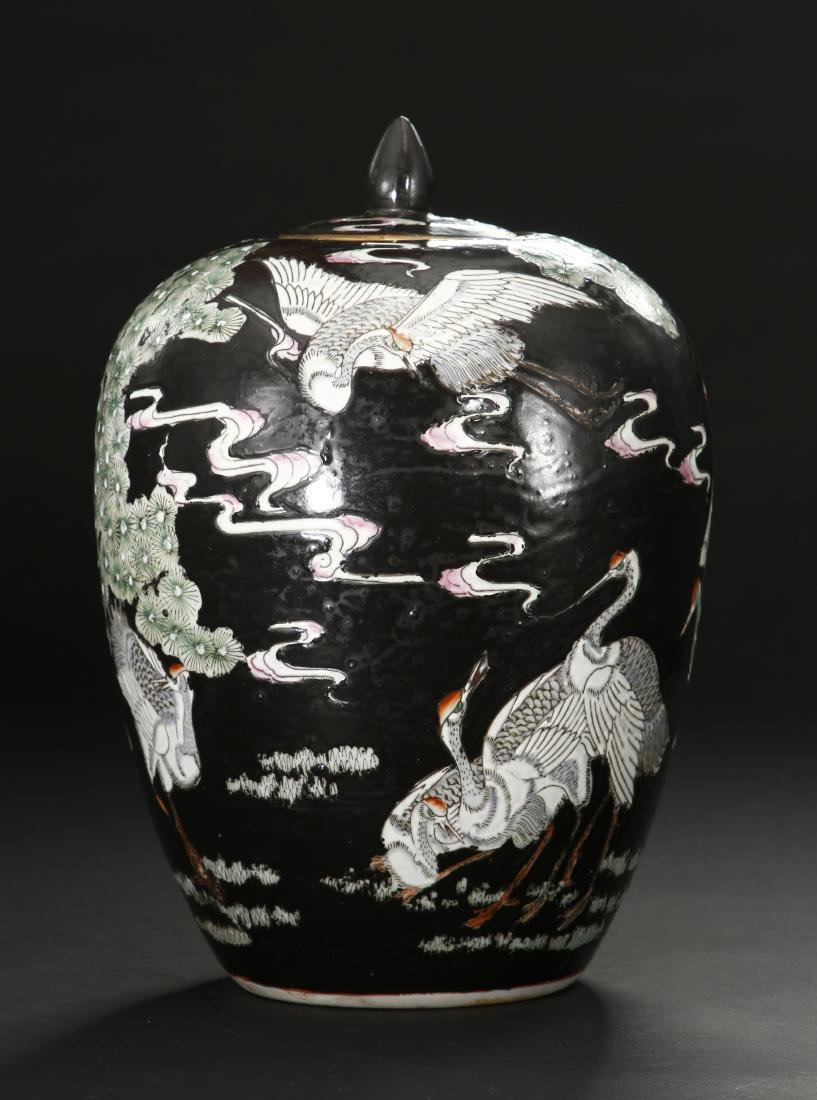 Pair of Famille Noir Ginger Jars and Covers - 9
