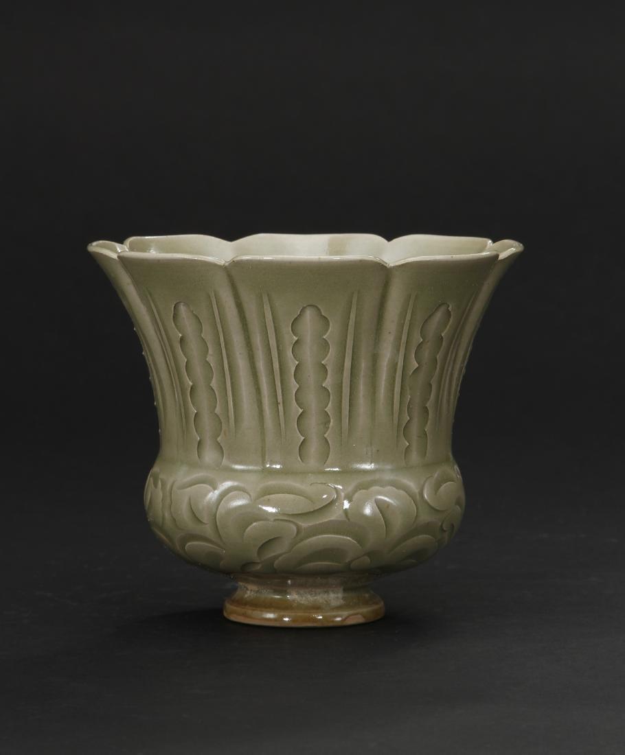 Rare Carved Yaozhou Celadon Floral-Form Zhadou