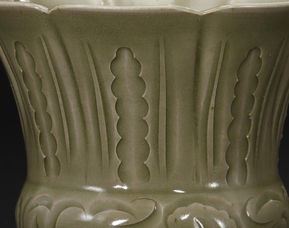 Rare Carved Yaozhou Celadon Floral-Form Zhadou - 4