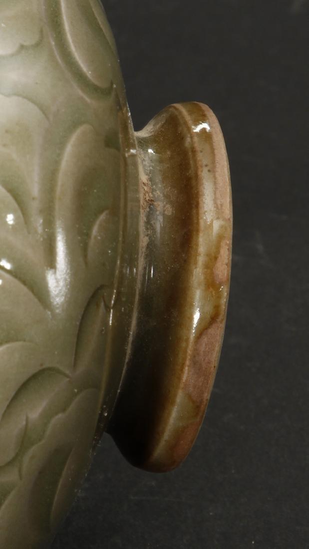Rare Carved Yaozhou Celadon Floral-Form Zhadou - 8
