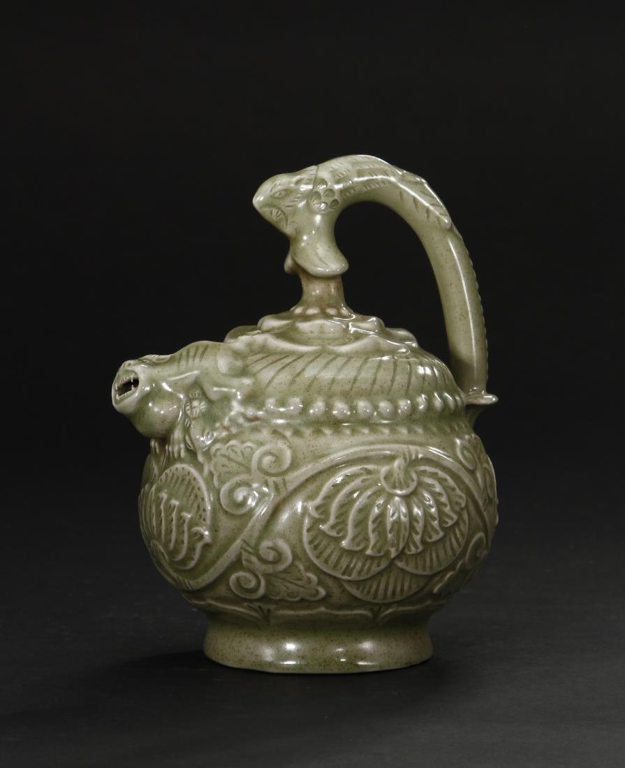 Carved Yaozhou Celadon Ewer
