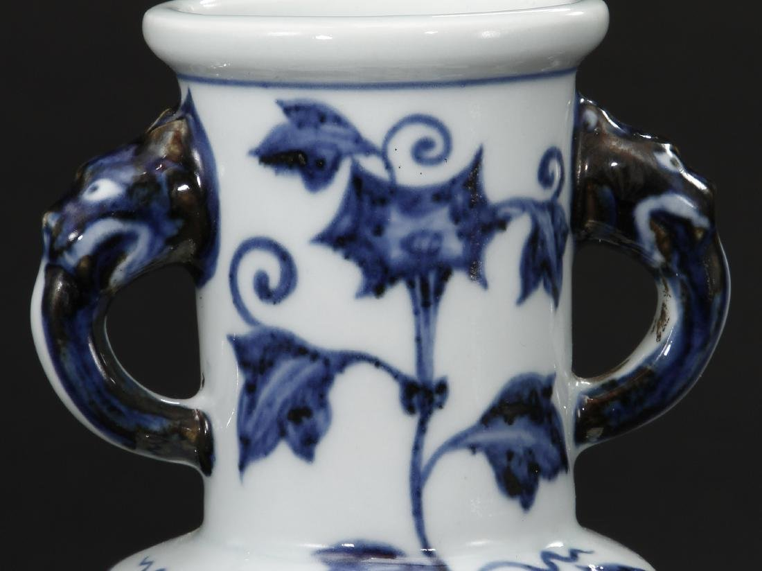 Blue and White Facetted Vase - 7