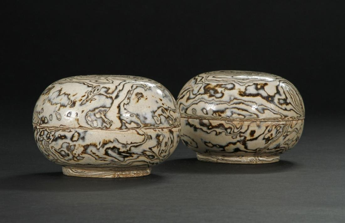 Pair Marbled Circular Boxes/Covers