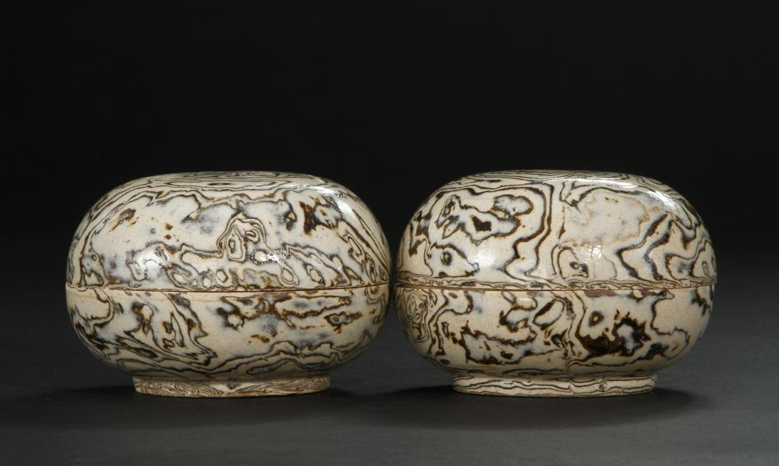 Pair Marbled Circular Boxes/Covers - 2